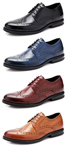 Men Genuine Leather Brogue Carved Oxfords Pointed Toe Dress Shoes