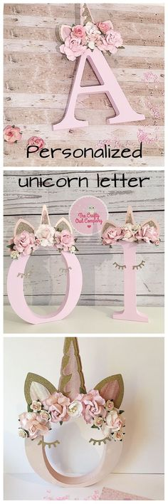 Very sweet personalized unicorn standing letter, super cute as nursery decoration. Babyshower gift, nursery decor, home decor, unicor decoration, gift idea for baby, gift idea for children, gift inspiration, craft idea, diy inspiration #ad #unicorn #etsy #craft #homedecor #nursery #gift #babyshower