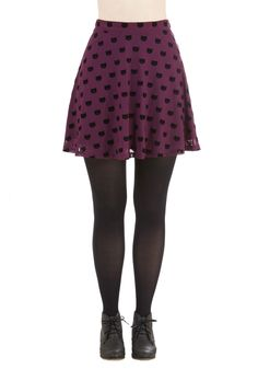 Miss Whiskers Skirt in Plum. We love a lady who can sport a good cat print, like the velvety kitties dotting this purple skirt from Sugarhill Boutique! #purple #modcloth