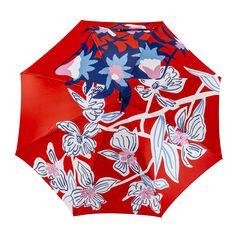 Un parapluie haut de gamme orné de fleurs XXL et stylisées sur fond rouge vif !