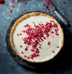 pomegranate studded no-bake cheesecake + coconut crust