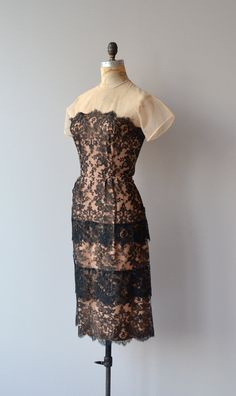 Pazzamezzo dress vintage 1950s dress black lace by DearGolden