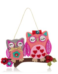 Felt Owls On A Branch Decoration | Multi | Accessorize