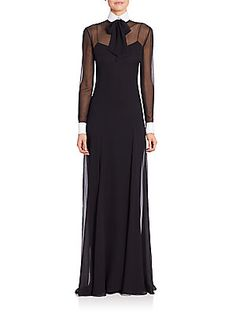 Ralph Lauren Collection Lizette Tie-Neck Gown