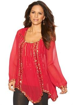 Beaded Blouse from Denim 24/7® | Plus Size Holiday Looks | Roamans