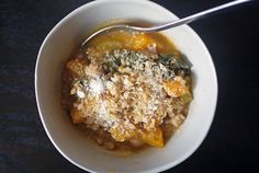 kale, squash & farro soup with chickpeas (One Hungry Mama)