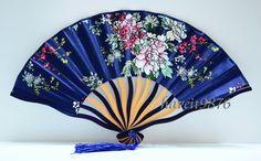 Silk blue flower Japanese hand fan folding fan by HaveItFancyWorld, $3.99