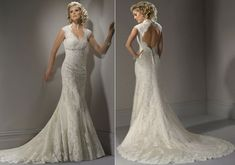 Keyhole beaded lace satin wedding gown... I want this one!