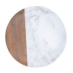 Marble and Wood Dinner Plate   Dunelm