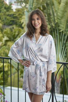 Stunning satin kimono robe adorned in beautiful delicate floral designs, it is lightweight providing luxuriously silky comfort on your skin. Honeymoon Getaways, Romantic Honeymoon, Girls Weekend, Kimono Fashion, Floral Design, Wedding Day, Delicate, Bridal, Forget