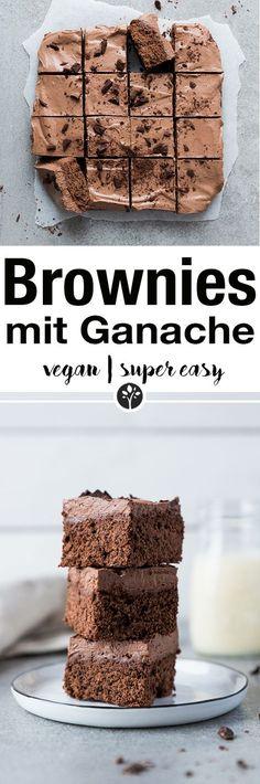 Easy peasy Brownies mit Schokoladen-Ganache. Das ganze Rezept jetzt auf www.eat-vegan.de // #vegan #brownies #schokolade #ganache #vegandessert #kuchen