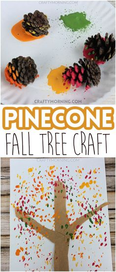Sensory craft idea for fall! Fall craft for kids. Fun paint a fall tree with nature pinecones. Easy pre-k, preschool art project. DIY project with pinecones. Halloween Art Projects, Preschool Art Projects, Stem Projects, Craft Projects For Kids, Preschool Crafts, Fun Crafts, Fall Arts And Crafts, Fall Crafts For Kids, Holiday Crafts