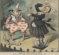 "Puck political cartoon, titled ""Now Let the Show Go On!,"" from the 1884 election showing a woman labeled ""Mrs. Lockwood"" bursting through a stage trap door next to a clown labeled ""B.B."" (Frederick Burr Opper/Puck/US Library of Congress)"