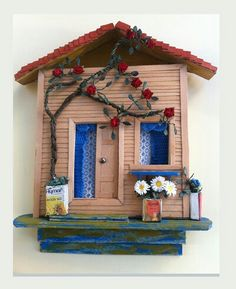 rolyef Rock Crafts, Diy Home Crafts, Fun Crafts, Paper Crafts, Name Plate Design, Clay Fairy House, Paper Daisy, Diy Wall Painting, Clay Art Projects