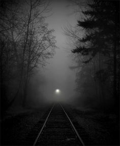 We park the truck and we take off running, hurry up girl, I hear it coming. Lets go listen to the night train. Night Train, Old Trains, Dark Places, Nocturne, Train Tracks, Black And White Pictures, Black White, Up Girl, Black And White Photography