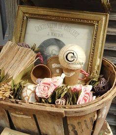 Basket Vignette ~ would like to do something like this with a more prominent framed photo;