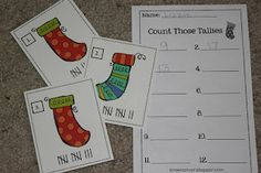 Kindergarten Is A Hoot!: More Holiday Tallying Freebies!! ecember, of course, requires more fun holiday games!  A couple days ago I posted Tally Time! where your students write the tallies for different numbers.  Stocking Tallies works on the reverse skill - counting tallies and writing the number.