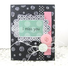 Polka Dotted Miss You Blank Greeting Card by PaperieBlooms on Etsy, $4.75