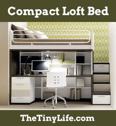 This compact loft bed has everything you need, and would be a great option for a tiny house!