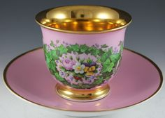 KPM Royal Porcelain Manufactory Berlin Meissen Large Pink Gold Cup  Saucer  19th century