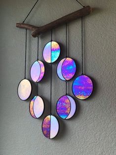 Rainbow Black Moon Phase Hanging // Celestial Art // Moon Phase Wall Decor // Stained Glass Moon Phase // Phases of the Moon // Lunar Cycle Moon Art, Moon Moon, Moon Phases Art, Arts And Crafts, Diy Crafts, Space Crafts, Black Moon, Wind Chimes, Just In Case