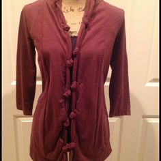 Anthropologie Maroon Open Drape Cardigan! Adorable Anthropologie Cardigan. Cute knotted detailing around the neck and front. Gathered detailing In the back. Lightweight, soft fabric In a blend of Cotton, Polyester and Rayon. Will make a super cute addition to any wardrobe! Anthropologie Sweaters