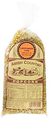 Amish Country Popcorn Hulless  Non GMO 1 Pound Bags Pack of 3 Ladyfinger -- BEST VALUE BUY on Amazon
