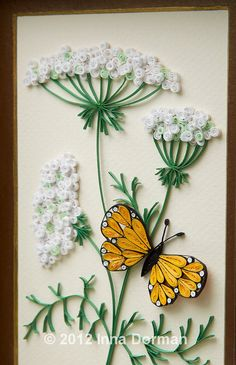 Paper filigree / paper quilling art: Wild carrot flowers and butterfly. Framed with glass, OOAK