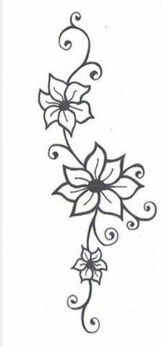 Flower With Vines Tattoo Flower Tattoos Jasmine Flower Tattoos And Flower Tattoo Designs - Tattoo Art Design ideas Jasmine Flower Tattoos, Flower Vine Tattoos, Flower Tattoo Designs, Henna Designs, Flower Designs, Tattoo Flowers, Henna Flowers, Vine Foot Tattoos, Daisies Tattoo