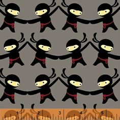 Lily Gonzalez - Ninjas Don't Sweat - Ninjas - Light Grey : Sew Modern