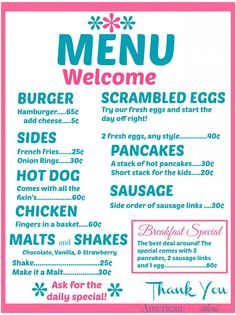 Living A Doll's Life : It's Retro Diner Week!!!!! - Printables!