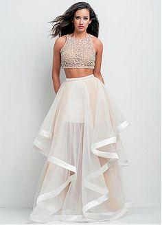 Charming Organza Jewel Neckline A-line Two-piece Prom Dress