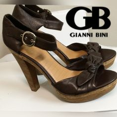 GIANNI BINI Brown Leather Ankle Strap Sandals From GIANNI BINI,  these Brown Leather Ankle Strap Sandals feature: - Size: 9 (Women's) - Medium Width  - 100% Leather Upper - Adjustable Buckle Closure at ankle - Comfortable Insole  Imported. NEW without Box!! Perfect Condition! Gianni Bini Shoes Sandals