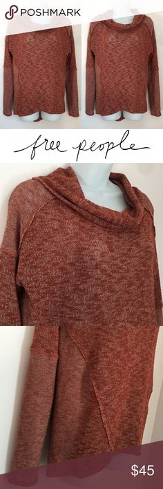 | Free People | Burnt Orange Cowlneck Knit Sweater In excellent condition. No flaws. Soft, stretchy, and cozy material. Made from 48% polyester, 48% rayon, 4% spandex. Oversized fit. Free People Sweaters Cowl & Turtlenecks