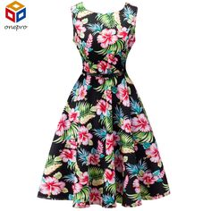 This item is HOT! 2017 Summer Plus ... click 2 order  http://i-saledresses.myshopify.com/products/2017-summer-plus-size-1950s-retro-tunic-party-dress-boat-neck-sleeveless-floral-print-audrey-hepburn-rockabilly-dress-with-belt?utm_campaign=social_autopilot&utm_source=pin&utm_medium=pin   We Ship Internationally!