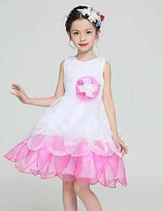 A-line Knee-length Flower Girl Dress - Organza / Satin / Polyester Sleeveless Jewel with