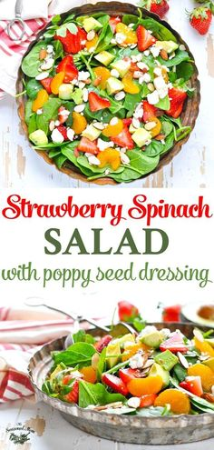 A quick and easy Strawberry Spinach Salad with Poppy Seed Dressing is a healthy side dish for any occasion! Strawberry Recipes   Salad Recipes   Salad Dressing Recipes   Healthy Dinner Recipes   Healthy Recipes #salad #strawberries #healthyfood #TheSeasonedMom