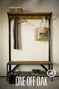 Hallway Bench Seat With Coat Rack. Hallway Coat Rack And Bench Foter. RC Handyman Services Mud Room Built In Oak Bench W . Home Design Ideas Hall Coat Rack, Coat Rack Bench, Coat Racks, Pipe Furniture, Industrial Furniture, Furniture Design, Vintage Industrial, Wood Steel, Welding Projects