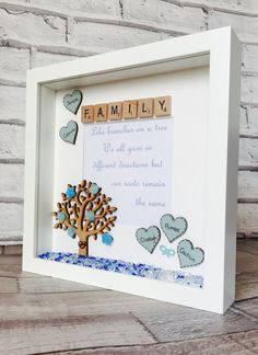 This listing is for a personalised family tree gift frame. Handmade in a style of your choice and up to five heart names can be added. A poem or photo can also be added, and available in either a black or white frame. Optional extras include the addition of scatter crystals and gift wrapping. When ordering please add your requirements and I will make a start as soon as possible. Once approved I will securely package the frame and have it safely delivered. Order received to dispatched is…