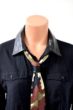 Womens Neck tie Camo Print Neck Scarf Lightweight Scarf Head Wrap Ascot Tie Camouflage Print Tie