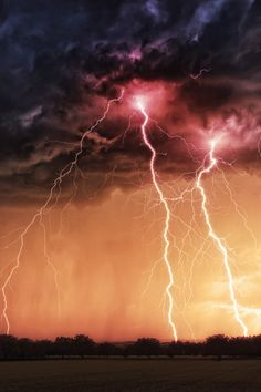 """heaven-ly-mind:""""Storm at sunset"""" Tornados, Thunderstorms, Lightning Photos, Ride The Lightning, Lightning Electric, Lightning Storms, Lightning Strikes, Storm Photography, Nature Photography Tips"""