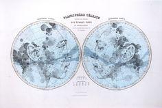 Planisphere Céleste // Map Portrait, Limited Print By Ed Fairburn Ed Fairburn, Celestial Map, Art Carte, Star Chart, Colossal Art, You Draw, Vintage Maps, Woman Drawing, Portraits