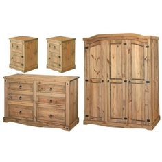 Premium Corona Mexican Solid Pine Bedroom Furniture With Real