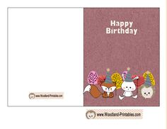 Birthday Cards Examples ~ Free printable birthday card featuring hedgehog and deer free