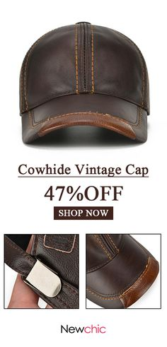 47%off Mens Cowhide Leather Baseball Cap Casual Cosy High Quality Sunshade  Leather d0d498552bab