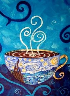 Starry Night mocha latte. For Angela & Jennifer.