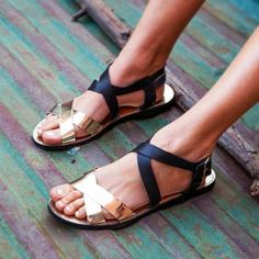 love these sandals - black and gold go with everything!