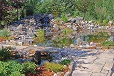 Love waterfalls? Us too! #pond #waterfall #landscaping #design #backyard #ideas #calgary
