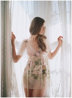Love this shoot for Claire Pettibone lingerie, shot by Elizabeth Messina. Sheer curtains. Floral lace.