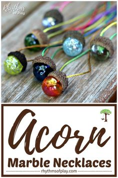 Acorn Marble Necklace DIY - this is an easy acorn craft, gift idea, and party favor for kids and adults. Use natural acorn caps and marbles to make a beautiful acorn pendant for an acorn necklace. A marble necklace also makes a gorgeous window decoration. Homemade Ornaments, Homemade Gifts, Diy For Kids, Crafts For Kids, Marble Necklace, Acorn Necklace, Diy Necklace Pendant, Kids Necklace, Acorn Crafts